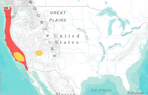 California condor range map